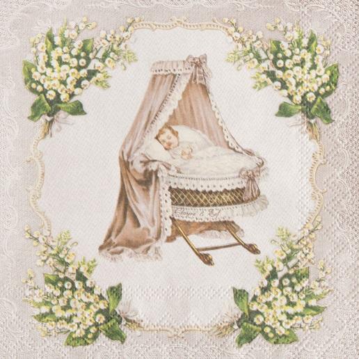 Servietten clayre eef landhaus romantik nostalgie baby wiege maigl ckchen ebay - Romantische dekoartikel ...
